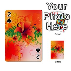 Awesome Red Flowers With Leaves Playing Cards 54 Designs