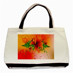 Awesome Red Flowers With Leaves Basic Tote Bag