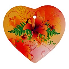 Awesome Red Flowers With Leaves Heart Ornament (2 Sides)