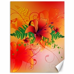 Awesome Red Flowers With Leaves Canvas 36  X 48