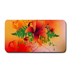 Awesome Red Flowers With Leaves Medium Bar Mats