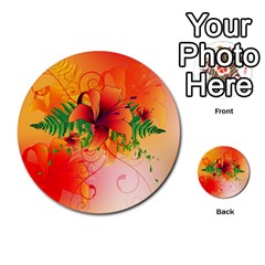 Awesome Red Flowers With Leaves Multi-purpose Cards (Round)