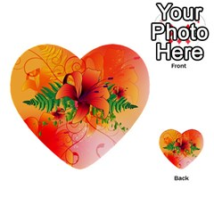 Awesome Red Flowers With Leaves Multi Purpose Cards (heart)