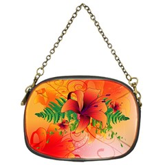 Awesome Red Flowers With Leaves Chain Purses (One Side)
