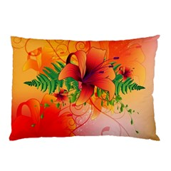 Awesome Red Flowers With Leaves Pillow Cases