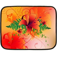 Awesome Red Flowers With Leaves Fleece Blanket (Mini)