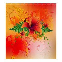 Awesome Red Flowers With Leaves Shower Curtain 66  X 72  (large)