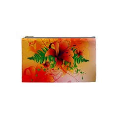 Awesome Red Flowers With Leaves Cosmetic Bag (Small)
