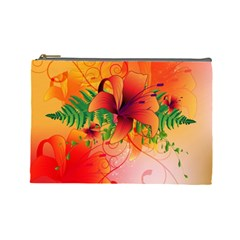 Awesome Red Flowers With Leaves Cosmetic Bag (Large)