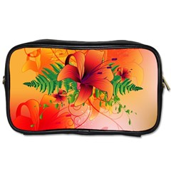 Awesome Red Flowers With Leaves Toiletries Bags