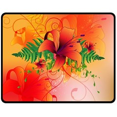 Awesome Red Flowers With Leaves Fleece Blanket (Medium)