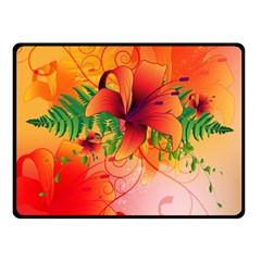 Awesome Red Flowers With Leaves Fleece Blanket (small)