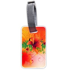 Awesome Red Flowers With Leaves Luggage Tags (one Side)