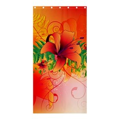 Awesome Red Flowers With Leaves Shower Curtain 36  X 72  (stall)