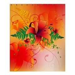 Awesome Red Flowers With Leaves Shower Curtain 60  x 72  (Medium)