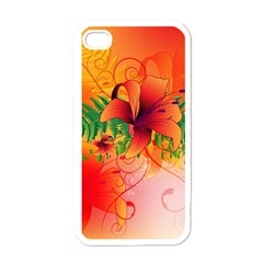 Awesome Red Flowers With Leaves Apple iPhone 4 Case (White)