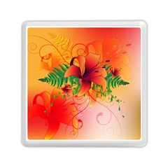 Awesome Red Flowers With Leaves Memory Card Reader (Square)