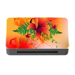 Awesome Red Flowers With Leaves Memory Card Reader With Cf