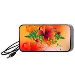 Awesome Red Flowers With Leaves Portable Speaker (Black)