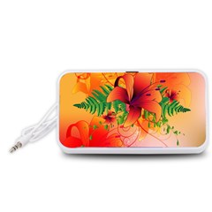Awesome Red Flowers With Leaves Portable Speaker (White)