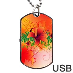 Awesome Red Flowers With Leaves Dog Tag USB Flash (Two Sides)