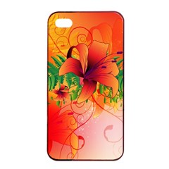 Awesome Red Flowers With Leaves Apple iPhone 4/4s Seamless Case (Black)