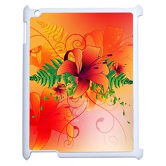 Awesome Red Flowers With Leaves Apple iPad 2 Case (White)