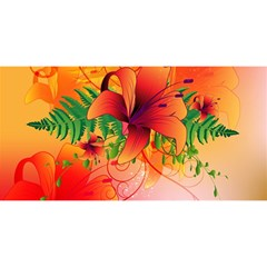 Awesome Red Flowers With Leaves YOU ARE INVITED 3D Greeting Card (8x4)