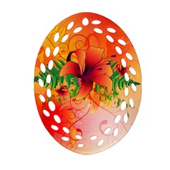 Awesome Red Flowers With Leaves Oval Filigree Ornament (2-Side)