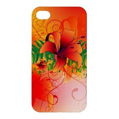Awesome Red Flowers With Leaves Apple iPhone 4/4S Hardshell Case