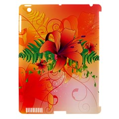 Awesome Red Flowers With Leaves Apple iPad 3/4 Hardshell Case (Compatible with Smart Cover)