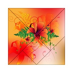 Awesome Red Flowers With Leaves Acrylic Tangram Puzzle (6  x 6 )
