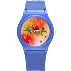 Awesome Red Flowers With Leaves Round Plastic Sport Watch (S)
