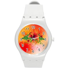 Awesome Red Flowers With Leaves Round Plastic Sport Watch (M)