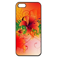 Awesome Red Flowers With Leaves Apple iPhone 5 Seamless Case (Black)