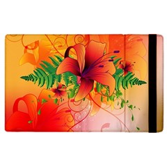Awesome Red Flowers With Leaves Apple iPad 2 Flip Case