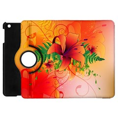 Awesome Red Flowers With Leaves Apple iPad Mini Flip 360 Case