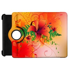 Awesome Red Flowers With Leaves Kindle Fire HD Flip 360 Case