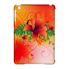 Awesome Red Flowers With Leaves Apple Ipad Mini Hardshell Case (compatible With Smart Cover)