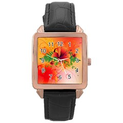 Awesome Red Flowers With Leaves Rose Gold Watches
