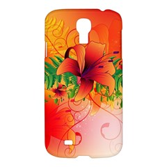 Awesome Red Flowers With Leaves Samsung Galaxy S4 I9500/I9505 Hardshell Case