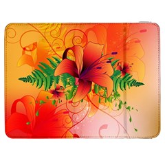 Awesome Red Flowers With Leaves Samsung Galaxy Tab 7  P1000 Flip Case