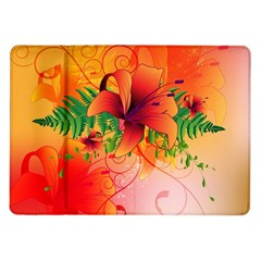Awesome Red Flowers With Leaves Samsung Galaxy Tab 10.1  P7500 Flip Case
