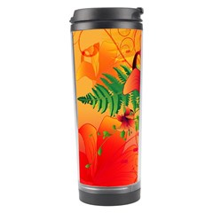 Awesome Red Flowers With Leaves Travel Tumblers