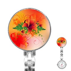 Awesome Red Flowers With Leaves Stainless Steel Nurses Watches