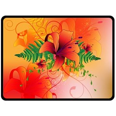 Awesome Red Flowers With Leaves Double Sided Fleece Blanket (Large)