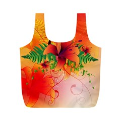 Awesome Red Flowers With Leaves Full Print Recycle Bags (M)