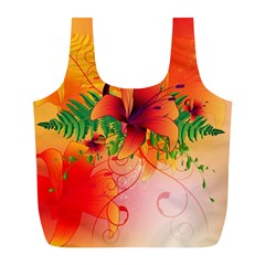 Awesome Red Flowers With Leaves Full Print Recycle Bags (L)