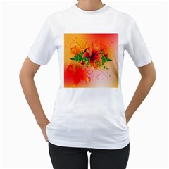 Awesome Red Flowers With Leaves Women s T Shirt (white)