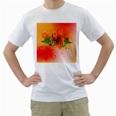 Awesome Red Flowers With Leaves Men s T Shirt (white)